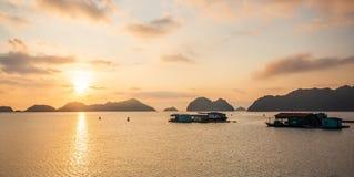 Sunset over Cat Ba island, Vietnam. stock photo