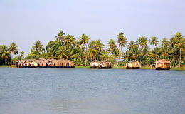House boats in Kerala Backwaters Royalty Free Stock Images