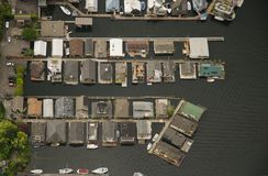 House Boats on Lake Union - Aerial Stock Photo