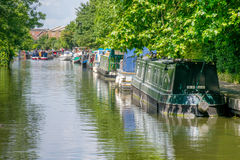 House boats line Regent's canal in East London Royalty Free Stock Photo