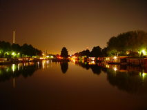 House boats by night. View of house boats by night in Utrecht, the Netherlands stock image