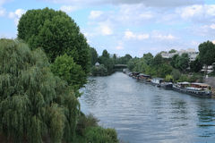 House boats on the Paris Seine Royalty Free Stock Images