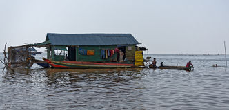 House and boats, Tonle Sap, Cambodia Royalty Free Stock Photography