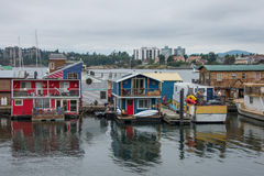 House boats in Victoria harbor Royalty Free Stock Photos