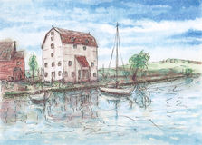 House and boats on water. Ink sketch lines and gouache on paper Royalty Free Stock Photo