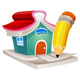 House with Book as Roof and Pencil Paper Stock Photos