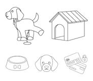House, booth, bowl, food.Dog set collection icons in outline style vector symbol stock illustration web. House, booth, bowl, food.Dog set collection icons in Stock Photos