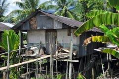 House of Borneo Headhunters. Traditional village originally used by Borneo headhunters Royalty Free Stock Photo