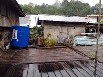 House of Borneo , Longhouse. Traditional village originally used by Borneo headhunters Stock Image
