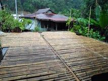 House of Borneo , Longhouse. Traditional village originally used by Borneo headhunters Royalty Free Stock Photo