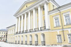 House Borschov in Kostroma-a monument of architecture of the era of classicism, one of the largest estates in the city of the firs. T quarter of the XIX century royalty free stock image