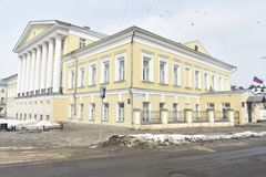 House Borschov in Kostroma-a monument of architecture of the era of classicism, one of the largest estates in the city of the firs. T quarter of the XIX century Stock Photography