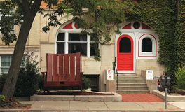 The house in Boston, Massachusetts, decorated with Dr. Seuss `Cat in the Hat` illustrations. stock images