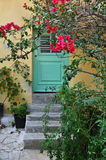 House and bougainvillea flowers Stock Photo