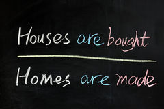 House are bought, homes are made Royalty Free Stock Images