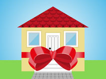 House and bow. The house tied with a gift bow stock illustration