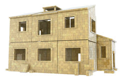 House Box Build Abstract. House built out of blocks, 3d abstract, horizontal Royalty Free Stock Images