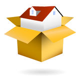 House in box isolated. Clip art of home in a paper box, refered to real estate and insurance Royalty Free Stock Photos