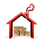 House and boxes illustration design Royalty Free Stock Photo