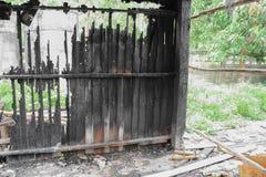 House brand Detaljen avbildar brandkatastrof från ett hem arkivbild