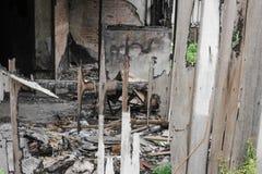 House brand Detaljen avbildar brandkatastrof från ett hem fotografering för bildbyråer