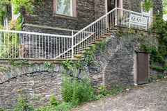 House with brick stone facade and stone stairs Stock Image