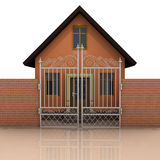 House with brick wall and closed fence on white Royalty Free Stock Images