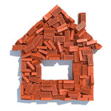 House from bricks  on white. Construction concept. Royalty Free Stock Image