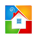 House colorful logo. House and broken colorful wall vector eps10 Stock Photos