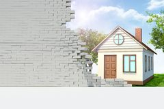 House in broken wall Stock Photography