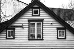 House brown details windows black white Stock Photos