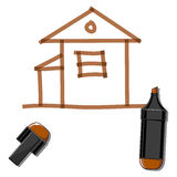 House and brown marker Royalty Free Stock Image
