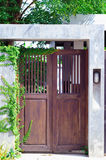 A house brown wood door. Stock Image
