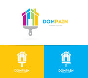 House and brush logo combination. Real estate and paintbrush symbol or icon. Unique apartment and rent agency logotype. Logo or icon design element for companies Royalty Free Stock Images