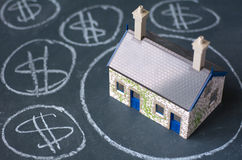 House bubble. Boom presentation on chalkboard. Concept photo of Real estate market bubble , booming, money,price, rent, grid, home, house, housing, industry and Royalty Free Stock Photo