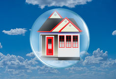 House in Bubble in the Clouds Royalty Free Stock Photos