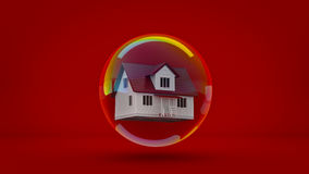 House in a bubble fly in the air. Stock Photos