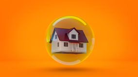 House in a bubble fly in the air. Royalty Free Stock Photo