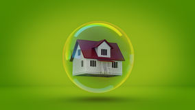 House in a bubble fly in the air. Stock Images