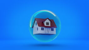 House in a bubble fly in the air. Royalty Free Stock Image