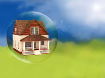 House in a bubble. Room for text or copy space stock photo
