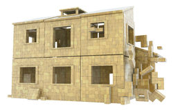 House Build Abstract. House built out of blocks, 3d abstract, horizontal Royalty Free Stock Photo