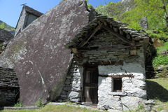 House build in rock in Ticino Royalty Free Stock Photo