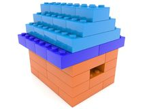 House build from toy bricks. In backgrounds Stock Images