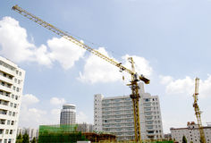 House building. Site,iron arm ,blue sky.Taken in China Stock Photography