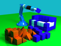 House building. The robot builds the house of bricks 3D model Stock Illustration