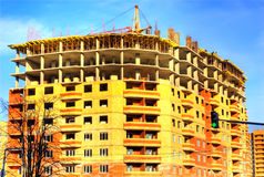 House building. Building of the brick many-storeyed house Royalty Free Stock Images