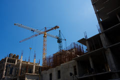 House-building. Against blue sky Royalty Free Stock Image