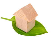 House of building blocks on the green leaf. Isolated on white Stock Photo