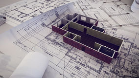 House is building on blueprints. 3d rendering of House is building on blueprints Stock Image